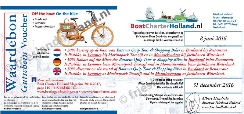 Huurders die een boot hebben geboekt bij een lid van Boat Charter Holland kunnen op vertoon van hun Profit Voucher voordelig van Burdaard en Lemmer en wijde omgeving genieten.